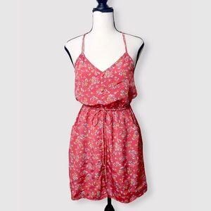 AEO Pink Floral Drawstring Waist Pocket Dress Sz 2